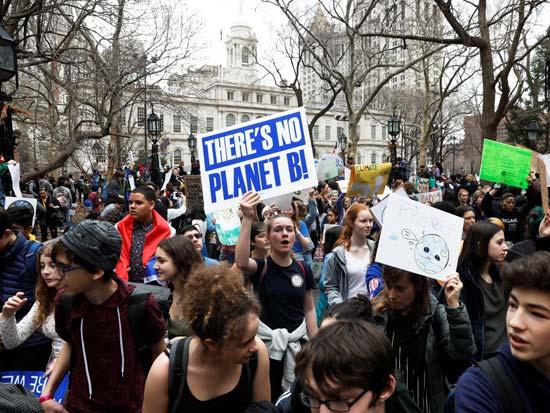 הפגנת בני נוער למען מודעות לשינויי האקלים / צילום: רויטרס - Shannon Stapleton