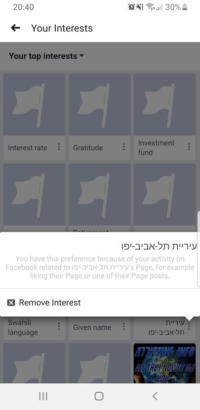 סילוק תחומי עניין מפייסבוק / צילום: צילום מסך, גלובס