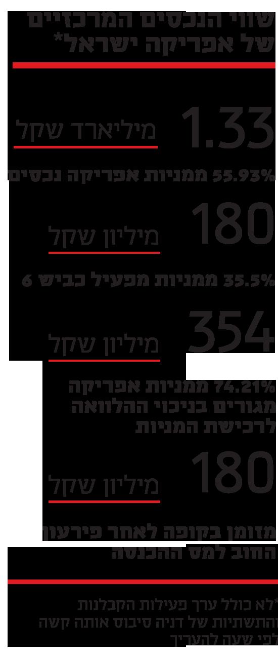 שווי הנכסים המרכזיים של אפריקה ישראל
