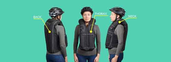 מעיל עם כרית אוויר לרוכבי אופניים