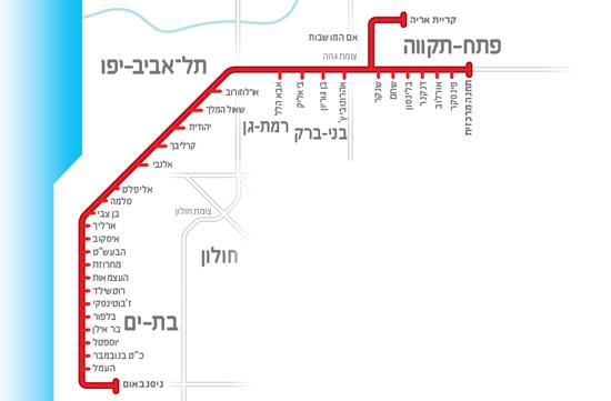 """תוואי הקו האדום של הרכבת הקלה של תל אביב. """"כל יום מצטרפים תושבים למחאה"""" מקור: נת""""ע"""