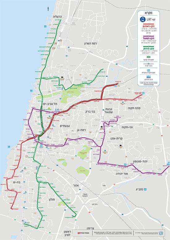 מפת רשת הרכבת הקלה / מקור: המרכז למיפוי ישראל