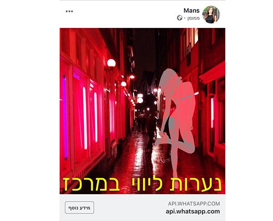 מודעה בפייסבוק על נערות ליווי / צילום: צילום מסך