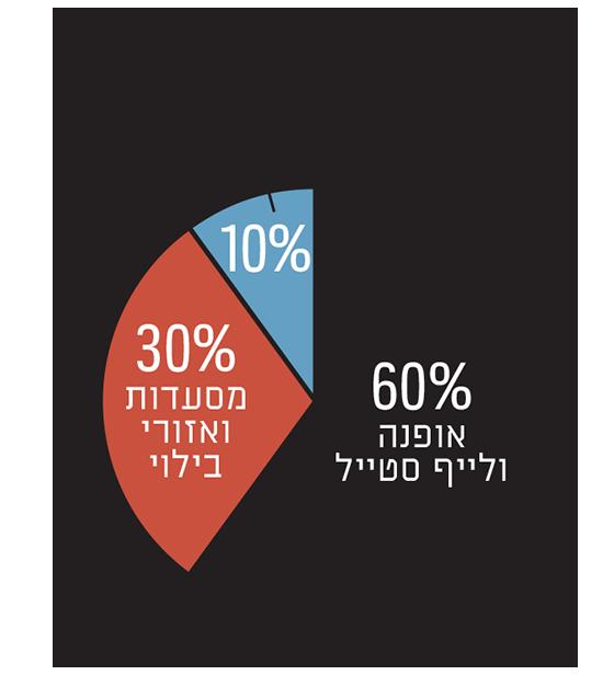 תמהיל השימושים כיום בקניונים הגדולים בישראל