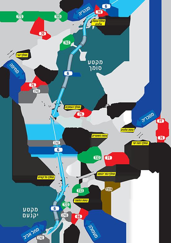 מפה מפורטת של כביש 6 צפון