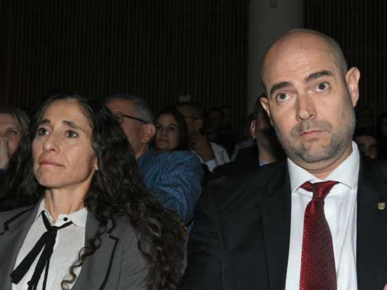 אמיר אוחנה ואורלי בן-ארי גינזברג בטקס הפרידה מפרקליט המדינה שי ניצן / צילום: רפי קוץ