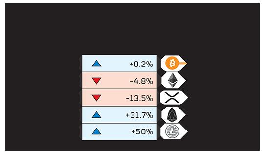 5 מטבעות הקריפטו המובילים על פי שווי השוק