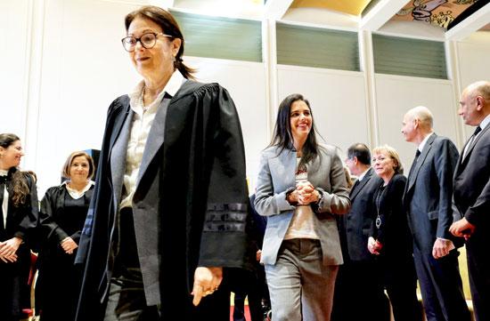 אסתר חיות ואיילת שקד בטקס מינוי השופטים / צילום: שלומי יוסף