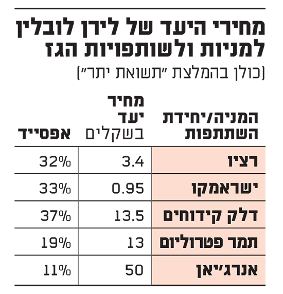 מחירי היעד של לירן לובלין למניות ולשותפויות הגז