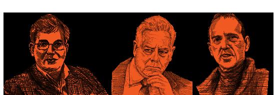 איש העסקים שמעון ויננטרובוהשר לשעבר אפריים סנהואהרון פרנקל  / איור: גיל ג'יבלי