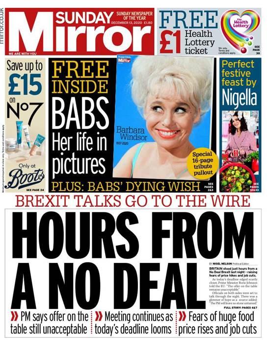 """השער של ה""""מירור"""" הבריטי. """"שעות לפני פרישה בלי הסכם"""" / צילום: צילום מסך"""