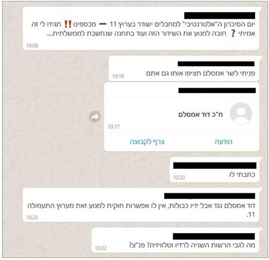 """תגובות בווטסאפ לידיעה הכוזבת על שידור טקס הזיכרון הישראלי-פלסטיני ב""""כאן"""" / צילום: צילום מסך"""