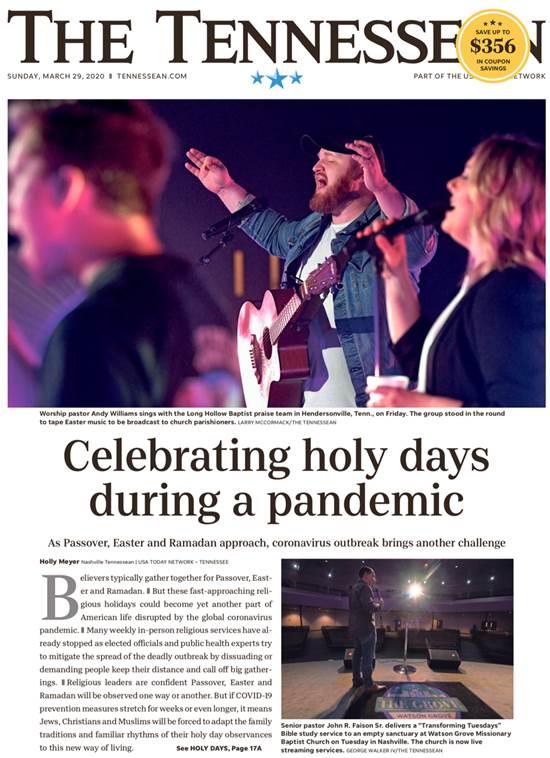 """שער העיתון מטנסי. כיתוב: """"ימי קודש בעידן המגיפה"""", בעיתון במדינת טנסי / צילום: צילום מסך"""