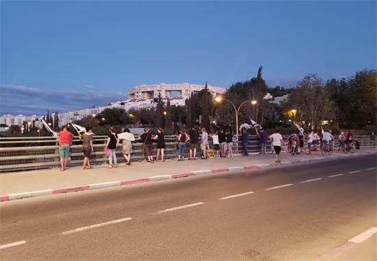 הפגנה נגד נתניהו סגשר הענבה, מודיעין / צילום: תמונה פרטית