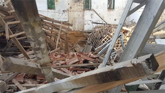 גג היקב ההיסטורי של מקווה ישראל קרס כתוצאה מהגשמים / צילום: המועצה לשימור אתרים