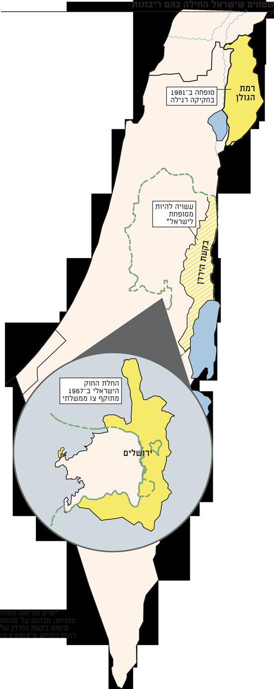 שטחים שישראל החילה בהם ריבונות