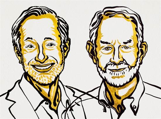 איור של צמד הזוכים בפרס נובל לכלכלה ב-2020: פול מילגרום ורוברט וילסון מאוניברסיטת סטנפורד / צילום: Nobel Media/ Niklas Elmehed