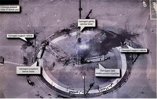 אתר שיגור הלווינים האיראני לאחר השיגור הכושל הקודם שהתרסק בהמראה / צילום: לוויין אמריקאי
