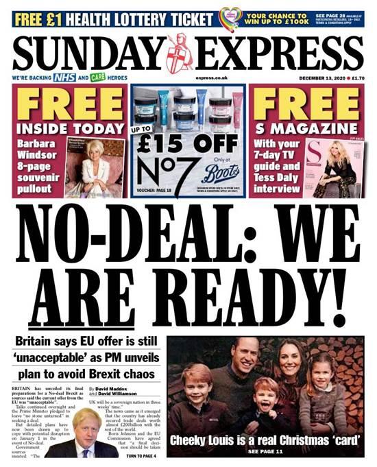 """השער של """"Sunday Express"""". """"ללא הסכם: אנחנו מוכנים!""""  / צילום: צילום מסך"""