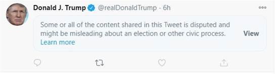 טוויטר סימנה את הציוץ של טראמפ כמטעה / צילום: צילום מסך