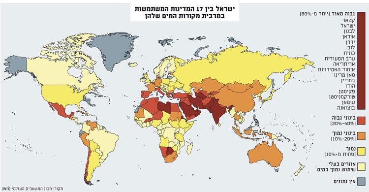 ישראל בין 17 המדינות המתמודדות עם מחסור חריף מאוד / מפה