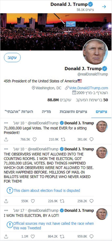 """ציוצים של טראמפ מנוטרים ע""""י טוויטר / צילום: צילום מסך"""