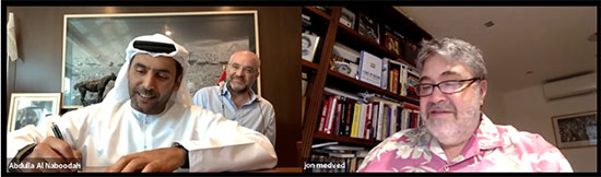 ג'ון מדבד ועבדאללה אל נבודה חותמים על ההסכם / צילום: OurCrowd