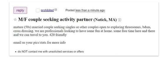 מודעה לחיפוש פרטנרים מיניים בשמם של בני הזוג, שעובדי eBay פירסמו לכאורה / צילום: צילום מסך