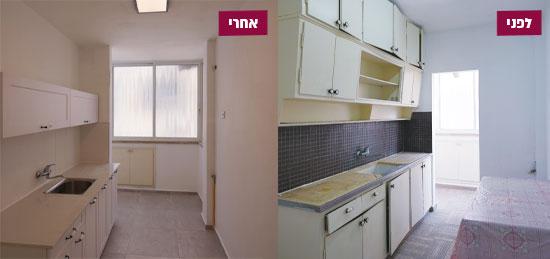 המטבח לפני השיפוץ (מימין) ואחריו / צילום: קוסטה צ'רפחין