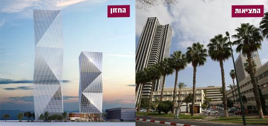 קריית עתידים - היום והתכנון / צילום: אלון רון, הדמייה: משה צור אדריכלים