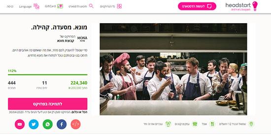 עמוד גיוס ההמונים של המסעדות באתר הד-סטארט / צילום: צילום מסך מאתר הד-סטארט