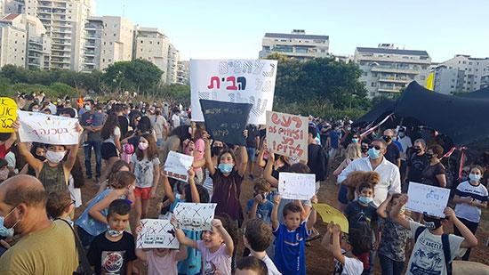 """הפגנת תושבים נגד הדפו של המטרו, בתחילת החודש / צילום: יח""""צ"""