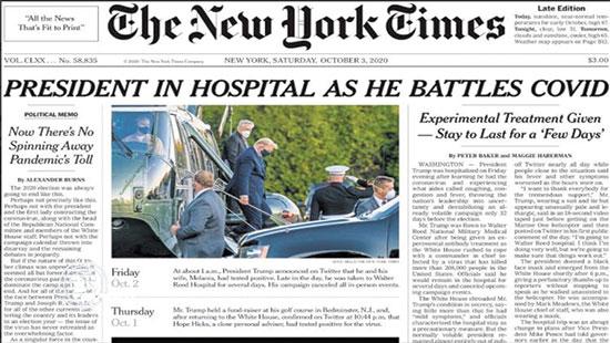 """שער """"ניו יורק טיימס"""", 3.10.20:  """"הנשיא אושפז בעודו נאבק בקורונה"""" / צילום: צילום מסך"""
