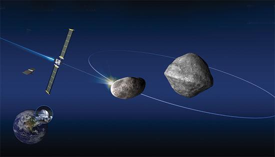 """הדמיה של פרויקט DART של נאס""""א להסטת אסטרואיד ממסלולו / צילום: רויטרס"""