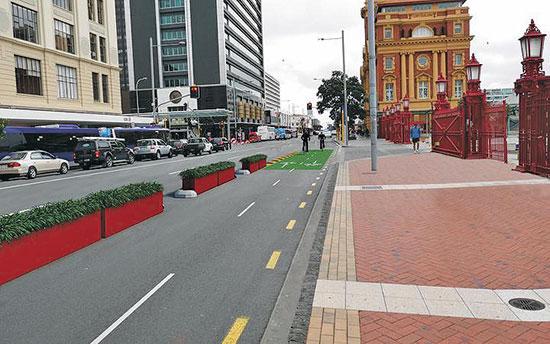כביש שהפך לשביל אופניים. אוקלנד, ניו זילנד / צילום: Ministry of Transport New Zealand , רויטרס