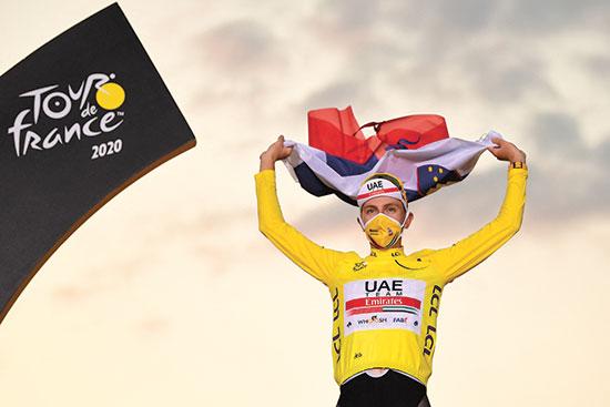טאדיי פוגצ'אר, זוכה טור דה פראנס. הסלובני ייצג את האמירויות / צילום: ASO via ABACAPRESS, רויטרס
