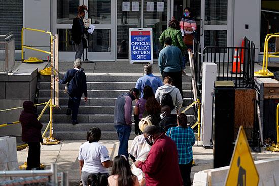 תור לקלפיות בפנסילבניה, השבוע / צילום: Matt Slocum, Associated Press