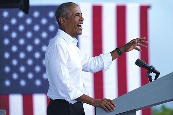 אובמה בעצרת בחירות למען ביידן במיאמי ביום שבת / צילום: Lynne Sladky, Associated Press