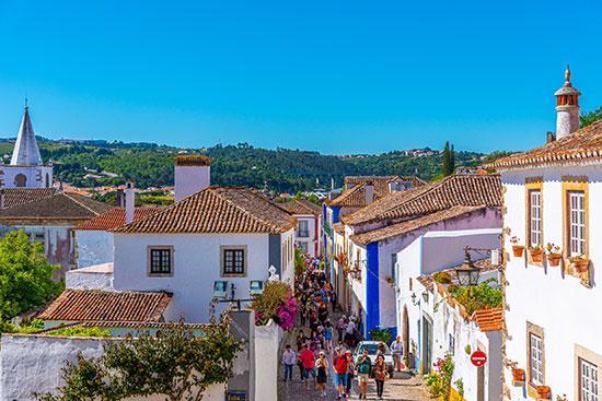 אחד הרחובות הפנימיים של טירת המלון Castelo de Obidos, שבעיירה אובידוס, פורטוגל / צילום: shutterstock, שאטרסטוק