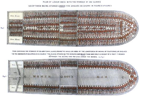 """איור מהמאה ה־18 של ספינת העבדים """"ברוקס"""", על שם הבעלים שלה,  סוחר העבדים מליברפול, ג'וזף ברוקס / צילום: shutterstock, שאטרסטוק"""