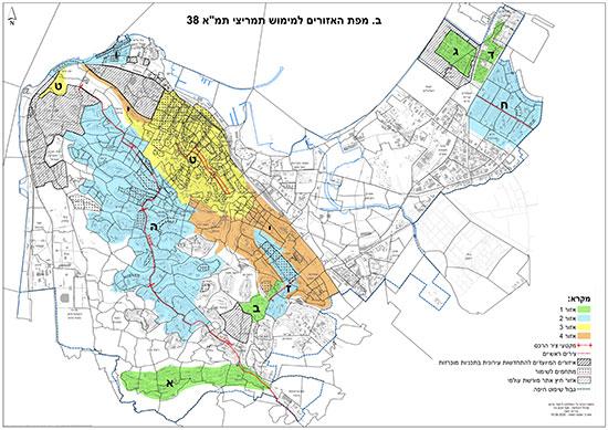 """מפת האזורים למימוש תמריצי תמ""""א 38 / אינפוגרפיקה: אגף תכנון עיריית חיפה"""