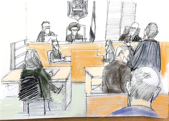 הדיון בבית המשפט המחוזי בירושלים / איור: גיל ג'יבלי, גלובס