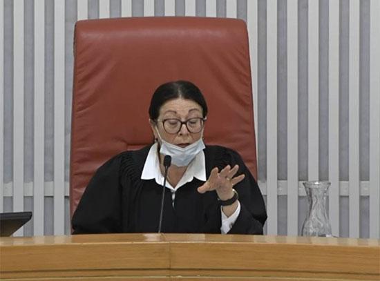 השופטת אסתר חיות / צילום: מתוך הדיון שהועבר בשידור חי