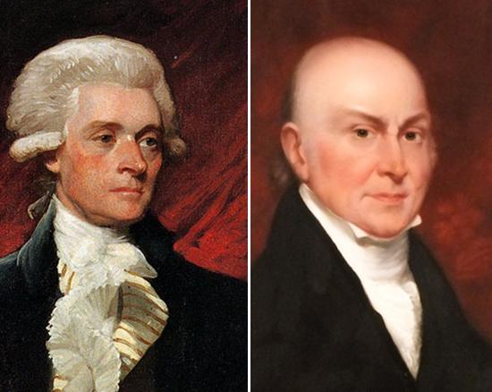 ג'ון קווינסי אדאמס (מימין) ותומאס ג'פרסון. שני נשיאים שנבחרו על ידי בית הנבחרים / צילום: ויקיפדיה
