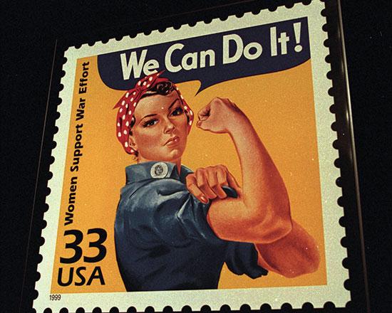 """בול של """"רוזי המְסַמְרֶרֶת"""" שהפכה עם השנים לאייקון שסימל את התגייסות הנשים לכוח העבודה במלחמת העולם ה־2.  / צילום: JOAN SEIDEL, Associated Press"""