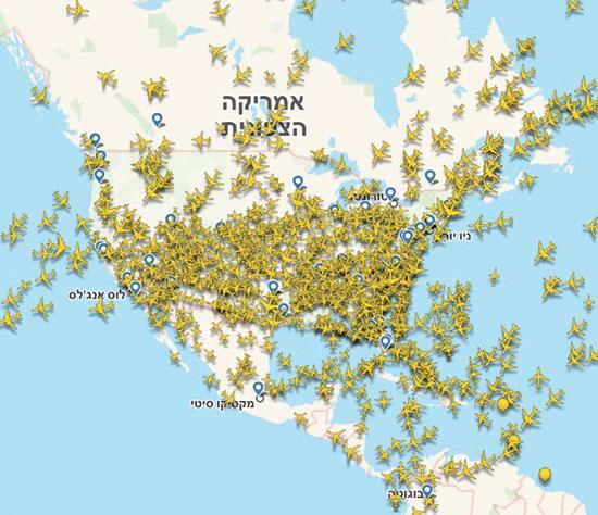 """מבט על שמי ארה""""ב ביום שגרתי. כך נראה השוק הצפוף בעולם / צילום: צילום מסך מאתר flightradar 24"""