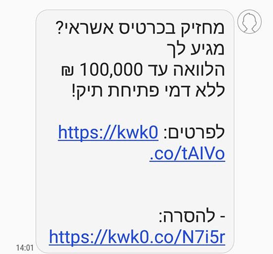 הודעה זדונית של הלוואה דרך הנייד / צילום: צילום מסך
