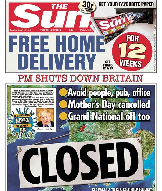 """עיתון ה""""סאן"""" הבריטי. """"ראש הממשלה סוגר את בריטניה"""" / צילום: צילום מסך"""