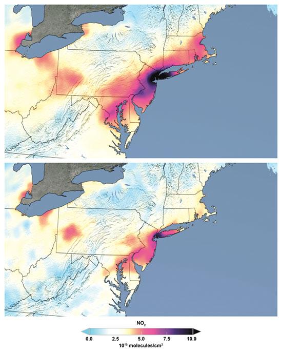 """מפה של נאס""""א שמראה את הירידה בזיהום מחנקן דו חמצני (NO2) בצפון מזרח ארה""""ב. למעלה: חודש מרץ בשנים קודמות; למטה: מרץ 2020 / צילום: Associated Press"""