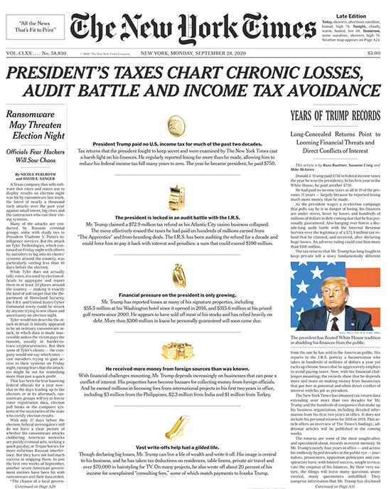 """עיתון ״הניו יורק טיימס"""" על טראמפ: כותרת ראשית שלועגת לדיווחי המס שלו על ״הפסדים כרוניים״ ועל ניסיונותיו להעלים מס / צילום: צילום מסך"""